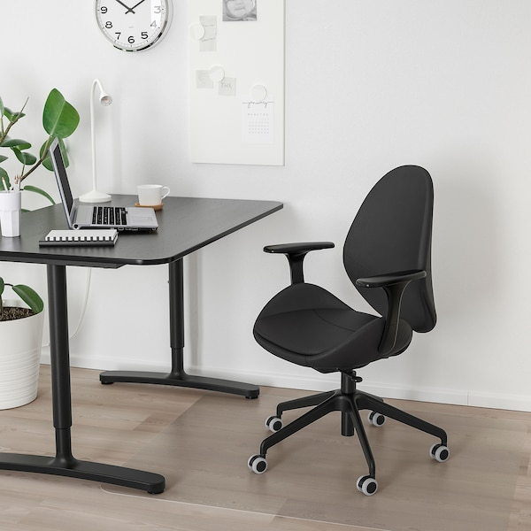 HATTEFJÄLL office chair with armrests Smidig black/black 110 kg 68 cm 68 cm 110 cm 50 cm 40 cm 41 cm 52 cm