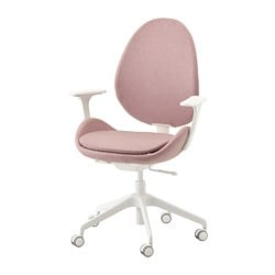 HATTEFJÄLL office chair with armrests, Gunnared light brown-pink, white