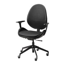 HATTEFJÄLL office chair with armrests, Smidig black, black