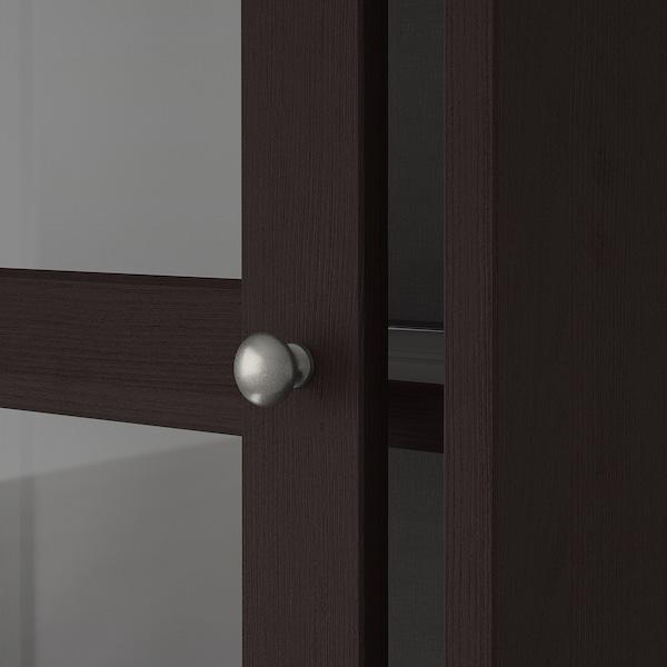 HAVSTA Glass-door cabinet, dark brown, 121x35x123 cm