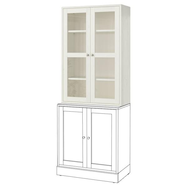 HAVSTA Glass-door cabinet, white, 81x35x123 cm