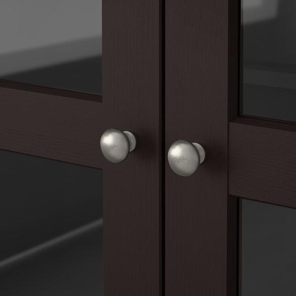 HAVSTA Glass-door cabinet with plinth, dark brown clear glass, 81x37x134 cm