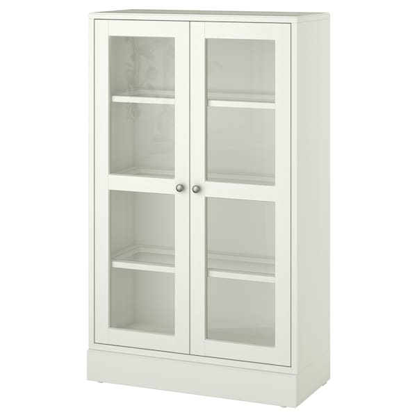 HAVSTA Glass-door cabinet with plinth, white clear glass, 81x37x134 cm