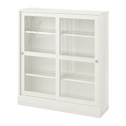 HAVSTA glass-door cabinet with plinth, white clear glass