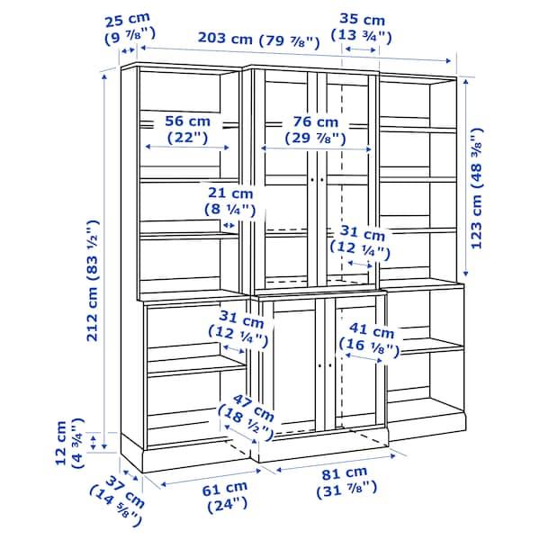 HAVSTA storage combination w glass doors grey 203 cm 47 cm 212 cm 20 kg