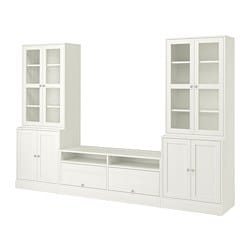 HAVSTA TV storage combination/glass doors, white