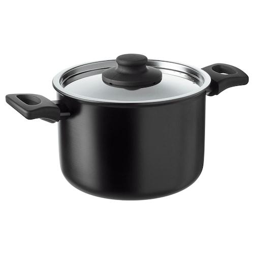 HEMLAGAD pot with lid black 13 cm 19 cm 3 l