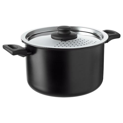 HEMLAGAD pot with lid black 15 cm 25 cm 5 l