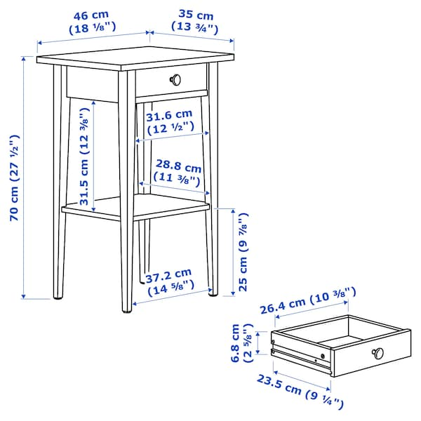 HEMNES bedside table black-brown 46 cm 35 cm 70 cm