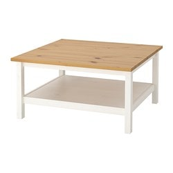HEMNES coffee table, white stain, light brown