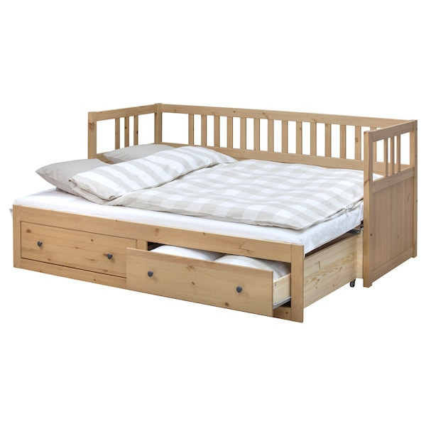 HEMNES Day-bed w 2 drawers/2 mattresses, light brown/Moshult firm, 80x200 cm