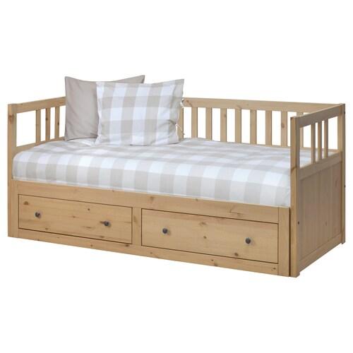HEMNES day-bed w 2 drawers/2 mattresses light brown/Moshult firm 207 cm 86 cm 91 cm 168 cm 200 cm 200 cm 80 cm