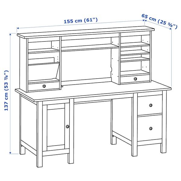 HEMNES desk with add-on unit white stain 155 cm 137 cm 65 cm