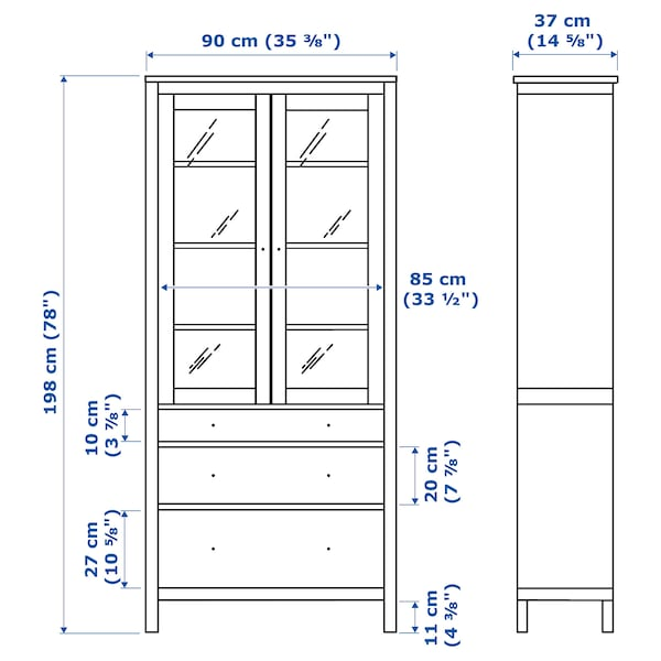 HEMNES glass-door cabinet with 3 drawers white stain/light brown 90 cm 37 cm 198 cm 30 kg