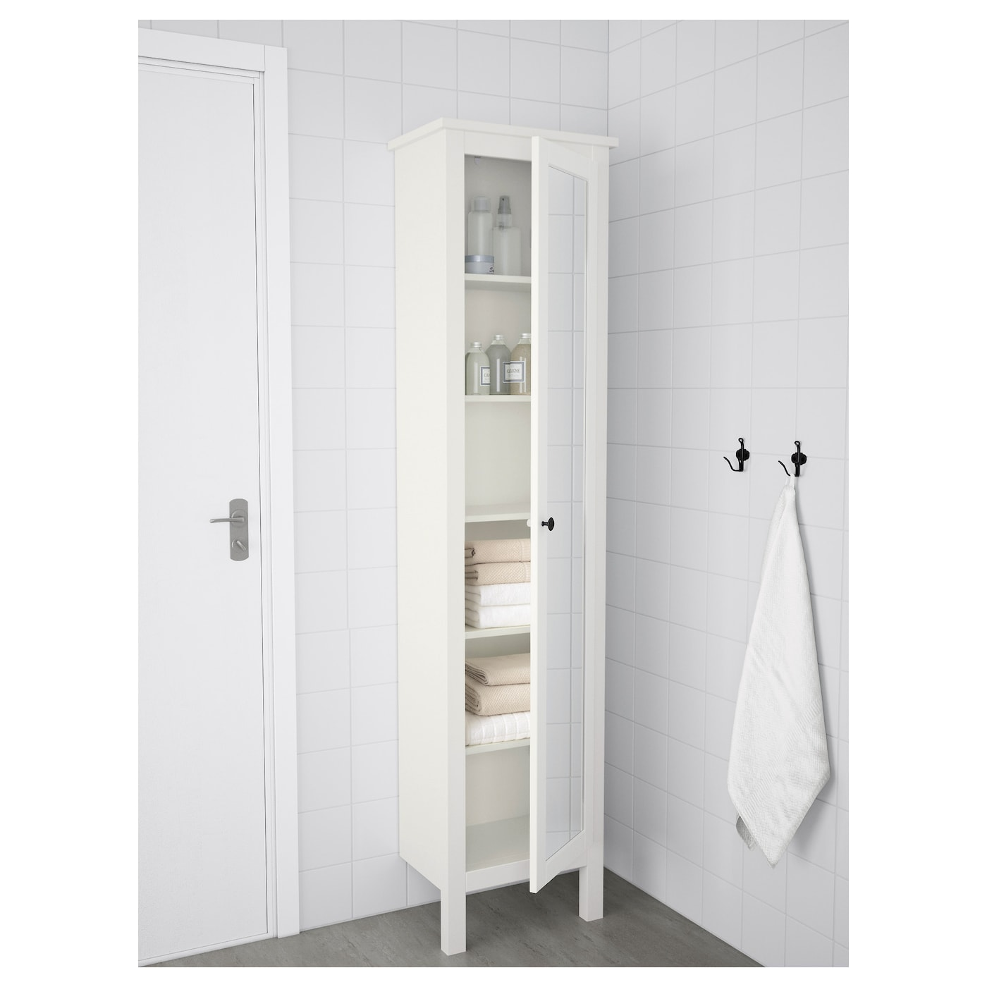 Hemnes High Cabinet With Mirror Door White Ikea