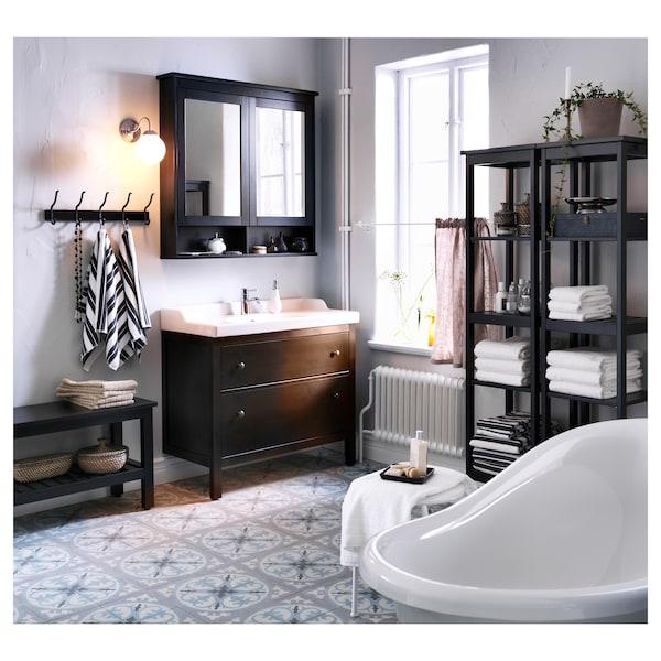 HEMNES mirror cabinet with 2 doors black-brown stain 103 cm 16 cm 98 cm