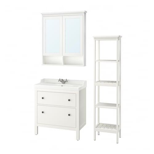 HEMNES / RÄTTVIKEN Bathroom furniture, set of 5, white/Runskär tap, 82 cm
