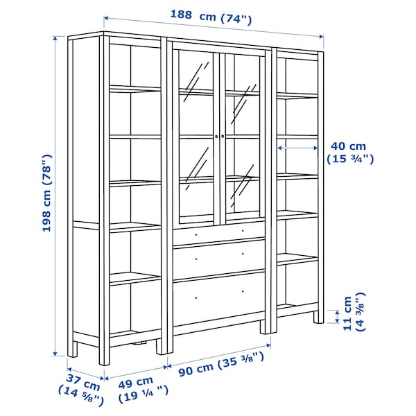 HEMNES storage combination w doors/drawers white stained/clear glass 188 cm 37 cm 198 cm
