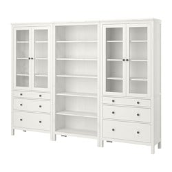 HEMNES storage combination w doors/drawers, white stain