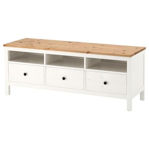 HEMNES TV bench white stain/light brown 148 cm 47 cm 57 cm 50 kg