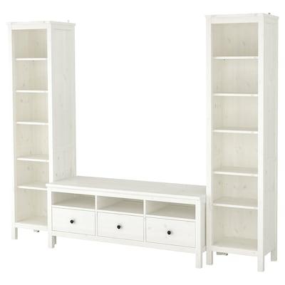 HEMNES TV storage combination, white stain, 245x198 cm