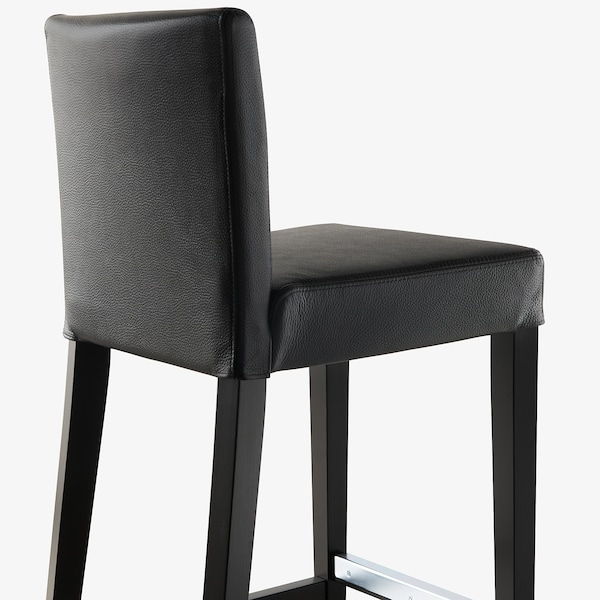 HENRIKSDAL bar stool with backrest brown-black/Glose black 110 kg 40 cm 51 cm 93 cm 40 cm 38 cm 63 cm