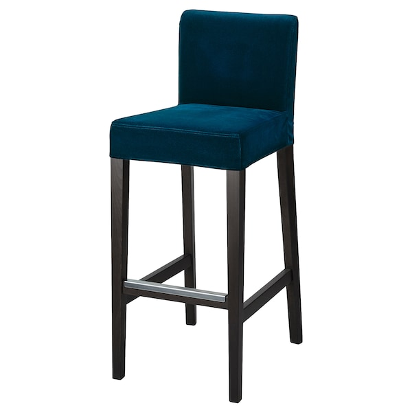 HENRIKSDAL cover for bar stool with backrest Djuparp dark green-blue