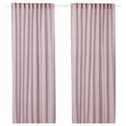 HILJA curtains, 1 pair pink 250 cm 145 cm 0.60 kg 3.63 m² 2 pack