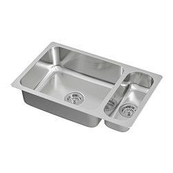 HILLESJÖN inset sink 1 1/2 bowl, stainless steel