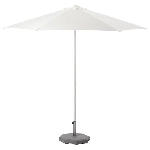 HÖGÖN parasol with base white/Huvön dark grey 170 g/m² 256 cm 270 cm 38 mm