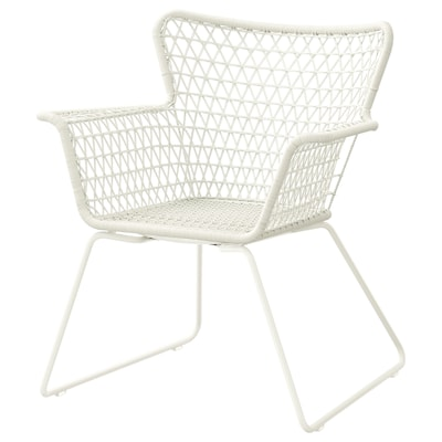 HÖGSTEN Chair with armrests, outdoor, white