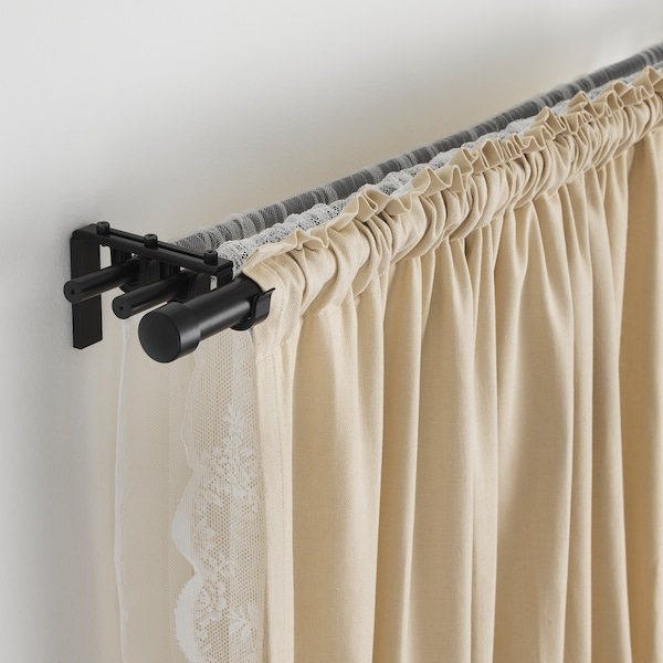 HUGAD curtain rod black 120 cm 210 cm 28 mm 10 kg