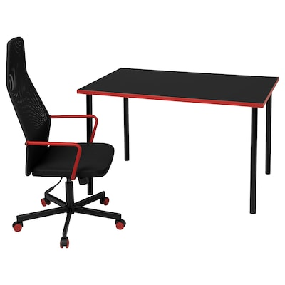 HUVUDSPELARE / ADILS Gaming desk and chair, black/red