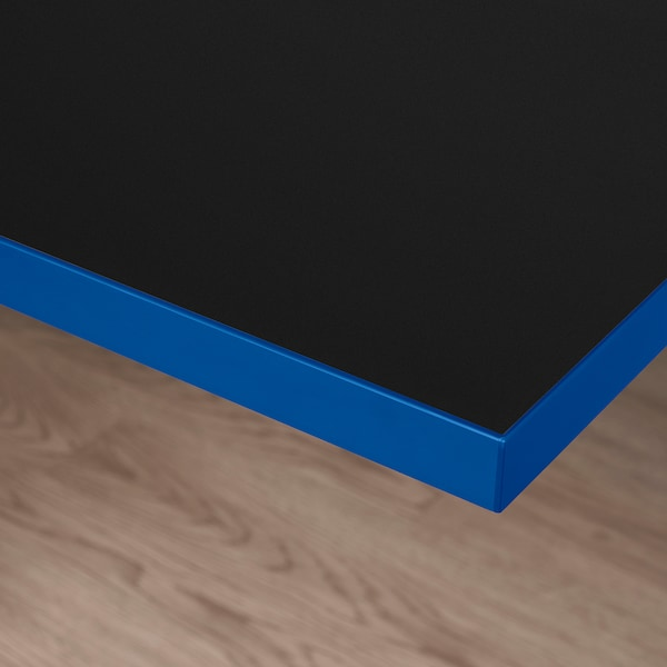 HUVUDSPELARE Table top, black/blue, 120x80 cm