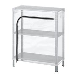 HYLLIS shelving unit with cover, transparent