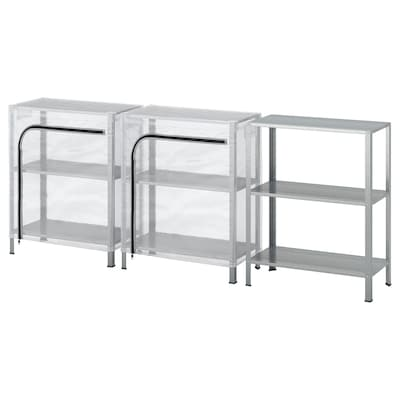 HYLLIS Shelving units with covers, transparent, 180x27x74 cm