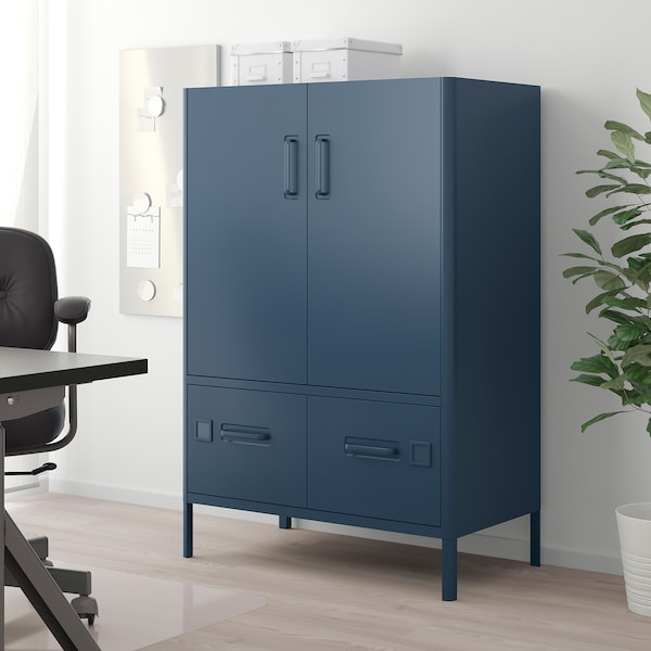 IDÅSEN cabinet with doors and drawers blue 80 cm 47 cm 119 cm