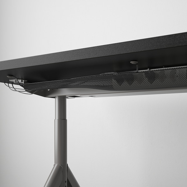 IDÅSEN Desk, black/dark grey, 160x80 cm