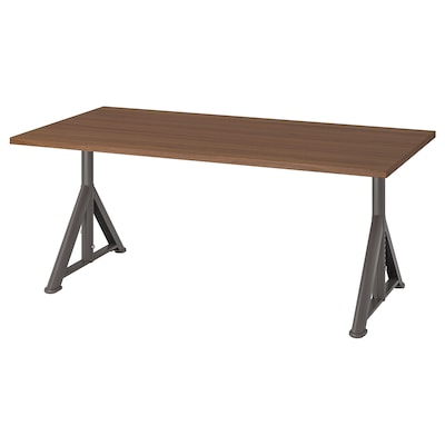 IDÅSEN Desk, brown/dark grey, 160x80 cm