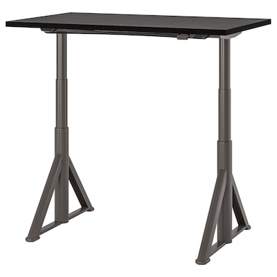 IDÅSEN Desk sit/stand, black/dark grey, 120x70 cm