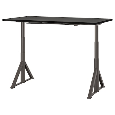 IDÅSEN Desk sit/stand, black/dark grey, 160x80 cm