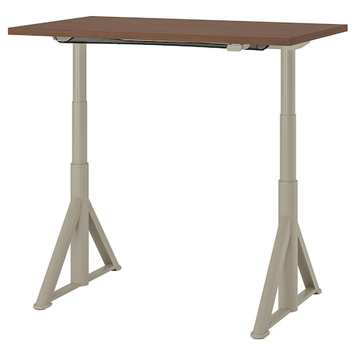 IDÅSEN Desk sit/stand, brown/beige, 120x70 cm