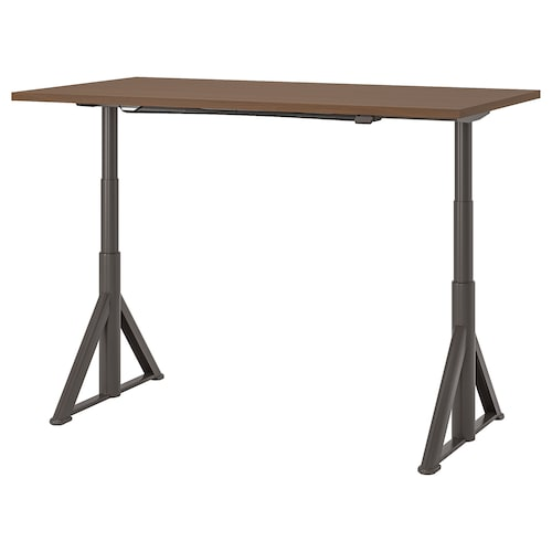 IDÅSEN Desk sit/stand, brown/dark grey, 160x80 cm