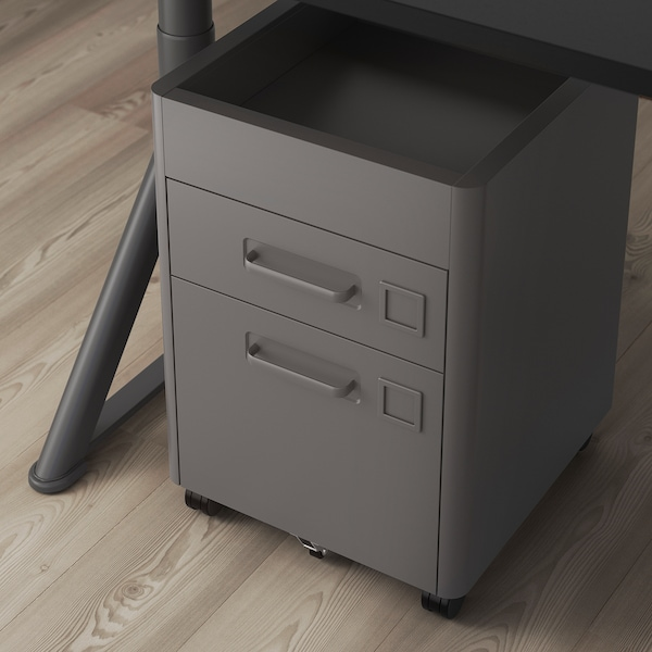 IDÅSEN Drawer unit on castors, dark grey, 42x61 cm