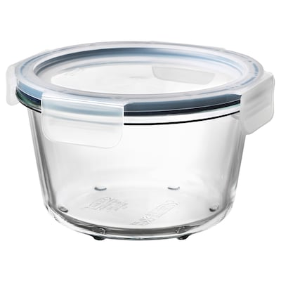 IKEA 365+ Food container with lid, round glass/plastic, 600 ml