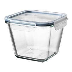 IKEA 365+ food container with lid, square glass, glass plastic