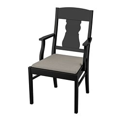 INGATORP chair with armrests, black, Nolhaga grey-beige grey/beige