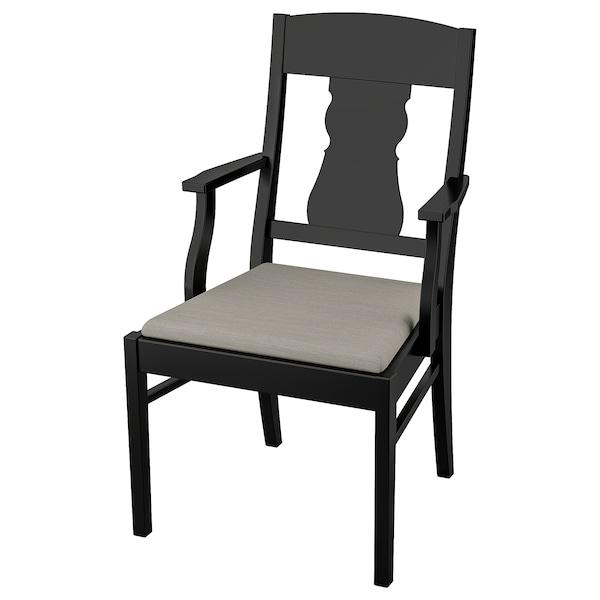 INGATORP chair with armrests black/Nolhaga grey-beige 110 kg 57 cm 63 cm 99 cm 42 cm 44 cm 48 cm