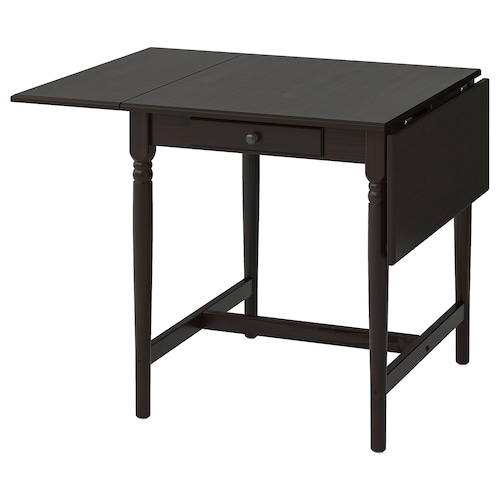 INGATORP drop-leaf table black-brown 65 cm 123 cm 78 cm 73 cm