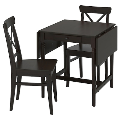INGATORP / INGOLF Table and 2 chairs, black-brown/brown-black